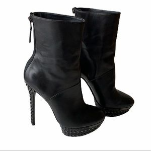 Brian Atwood Leather Studded Platform Boots